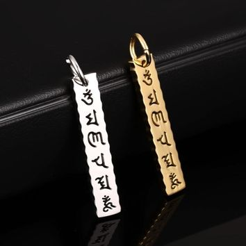 Stainless Steel Mantra Pendant Necklace