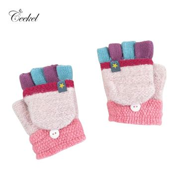 Convertible Cashmere Gloves for Girls Boys Kids Children 4-8 years Knitted Fingerless Flap Warm Winter Mitten Multicolor