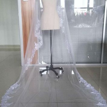 Wedding Veil Lace Cathedral wedding accessories White Ivory Long Bridal Veil Without Comb