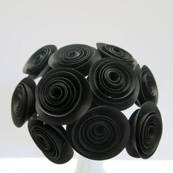 "Black paper roses, one dozen 1.5"" flowers on stem, 50th birthday party decor, wedding reception floral centerpieces, bridal shower party"