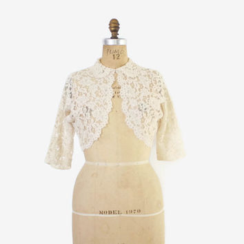 Vintage 50s LACE JACKET / 1950s Sheer Ivory Lace Peter Pan Collar Cropped Bolero