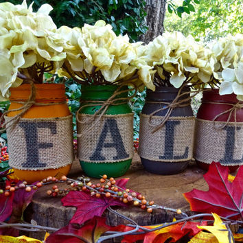 Fall Mason Jar Decor. Set of 4 Pint-Size Mason Jars Fall Decor. Thanksgiving Centerpiece. Fall Wedding Decor. Autumn Mason Jar Burlap Decor.