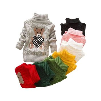 Autumn/Winter Knitted Pullovers Turtleneck Sweater Girls Clothes Cartoon Children Sweaters Outerwear