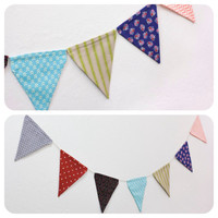 Fabric Bunting Pennant Flag Banner Girls Room Birthday Party Baby Wedding Dorm Decor Photo Prop (7 ft.) // Heart Floral Stripe Chevron Arrow