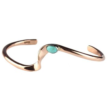 "TSKIES Authentic Navajo Turquoise Copper Bracelet Handmade Native American Jewelry 6.75"" Wrist"