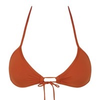 Summer Front Tie Triangle Bikini Top - Cinnamon