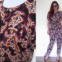 Vintage brown maroon romper jumpsuit jumper ethnic native tribal print pants hippie boho bohemian festival