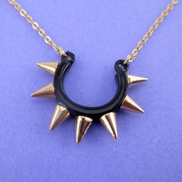 Minimal Rocker Chic Horseshoe Spiked Pendant Necklace in Black and Gold