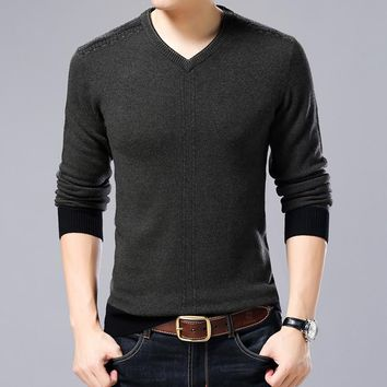 High Quality Winter Soft Warm Knitted Merino Wool Sweater Men 100%wool Sweaters Pure Color V-Neck Pullover Men