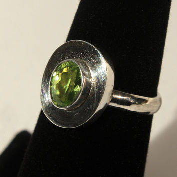 Sterling & Peridot Modernist Ring