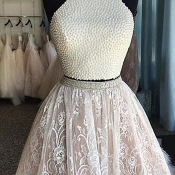 White Two Piece Lace Homecoming Dress