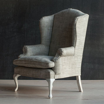 """1/4 scale Doll Wingback Chair, BJD Furniture, Cottage Chic Style Decorative Playscale armchair for MSD-size BJD's, Sybarites, 16""""-18"""" dolls."""