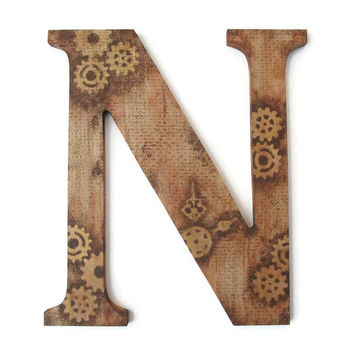 Decorative Letter N hand painted steampunk gears and clock hands,  industrial grunge browns, wall