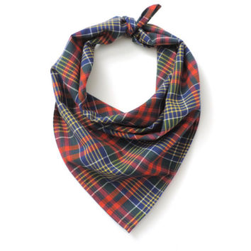 Plaid Bandana Square Scarf Cotton 20""