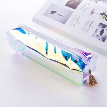 Transparent pencil case laser estojo escolar Kawaii kalem kutusu pencil cases pencilcase papelaria school supplies papeterie