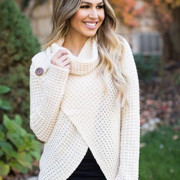 Cream Knit Open Cowl Neck Button Top