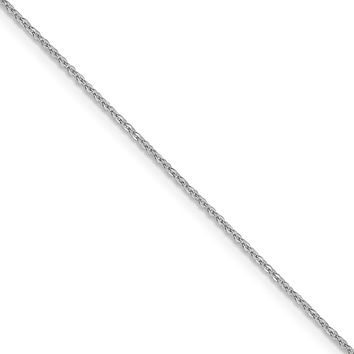 1.1mm 14k White Gold Solid Flat Cable Chain Necklace