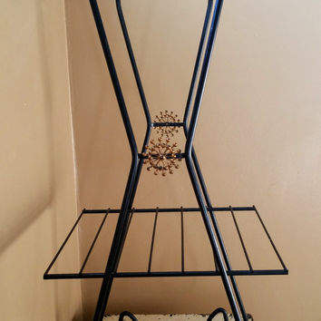 Black Wire Mid Century Modern Two Level Plant Stand