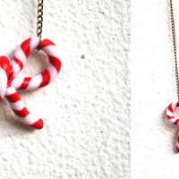 Christmas Candy Cane Bow Necklace