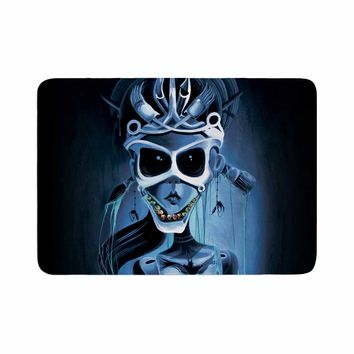 "Ivan joh ""Tattoo Girl"" Black Blue Pop Art Fantasy Illustration Painting Memory Foam Bath Mat"