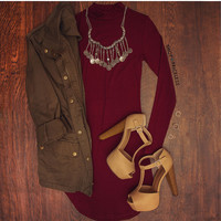 Fit Within Ribbed Dress - Burgundy