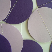 PURPLE and LAVENDER Paper Circle Garland Perfect for Weddings, Bridal or Baby Showers, Birthdays, Parties, Any Occasion, 10 Feet Long!