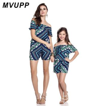mother daughter rompers family look jumpsuit off shoulder boat neck mommy and me bodysuit matching outfits baby toddler clothes