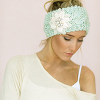 Mint Cable Knitted Headband, Jeweled Ear Warmer, Embellished Flower, Fashion Accessory MINT Turband Style (3 week lead time)
