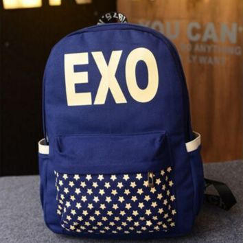 EXO new canvas shoulder bag college wind couple backpack trend school bags men and women backpack