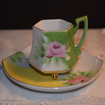 Occupied Japan Tea Cup & Saucer Vintage Green Yellow Pink Floral Footed Teacup and Saucer Set Art Deco Design Gold Accents Shabby Chic