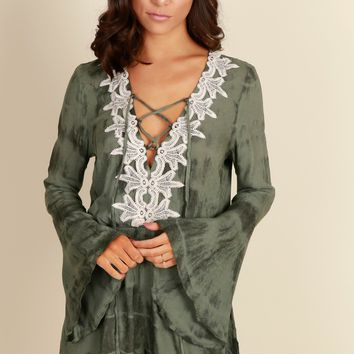 In Tune Lace Up Romper Olive
