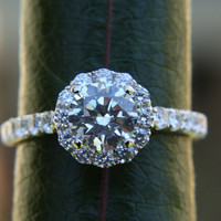 Diamond Engagement Ring  -14K white gold - 1.35 carat - Round - Flower Halo - Pave - Antique Style - Bp0014
