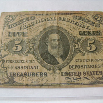 Third Issue 1864-1869 5 Cents Note United States Fractional Paper Currency Money Old Banknote Green Reverse FR1238 Spencer M. Clark