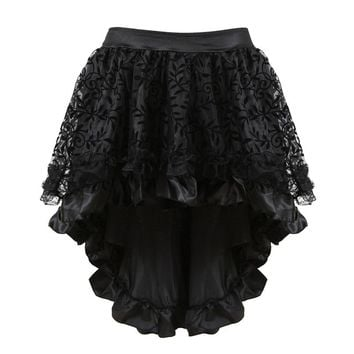 Victorian Burlesque Costumes Gothic Steampunk Clothing Ruffled Chiffon Black Multilayer Lace Skirt For Women Matching Corset