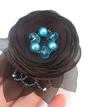 Jewelry, Brooch , Accessories , Brown  aqua blue wedding , Chocolate flower , Brooch flower , Clip for hair , Wedding , Brown and turquoise