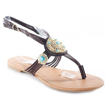 GAZA JEWELED THONG SANDAL