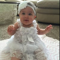 Christening Outfit Girls, Baptism Outfit Girls, Christening Dress, Baptism Headband,Christening Headband, Baptism Dress, Baby Headband,