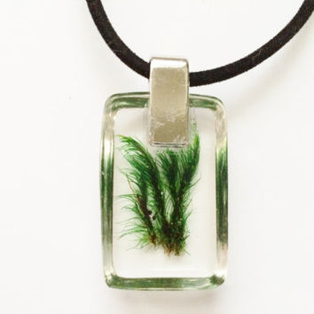 Woodland Moss Resin Pendant with Black Velvet Cord - Real Natural Moss Encased in Resin - Forest Woodland Pendant Jewelry
