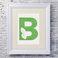 5x7 Alphabet Print 'B is for Basil' - Baby Name Art - Basil Baby Art - Baby Alphabet Print - Letter B - Basil Name Art - Basil Wall Art
