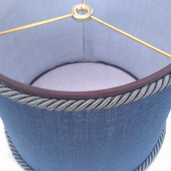 Burlap Lamp Shade  Drum Dark Blue Indigo Denim/Iridescent Blue Corded Trim/ Dark Brown Grosgrain  Ribbon Trim/ Brass Washer Top