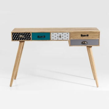 Eclectic Desk With Five Drawers