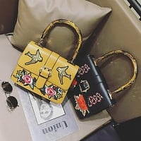 Women Fashion Retro Embroidery Flower Bird Single Shoulder Messenger Bag Bamboo Festival Handbag