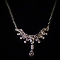 Vintage Art Deco Edwardian Black and White Rhinestone Necklace in Antique Silver Tone
