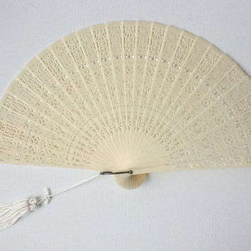 Rare Vintage Japanese Fan in Original Glass Top Box, 1950s Celluloid Empire Made Folding Fan, 00577