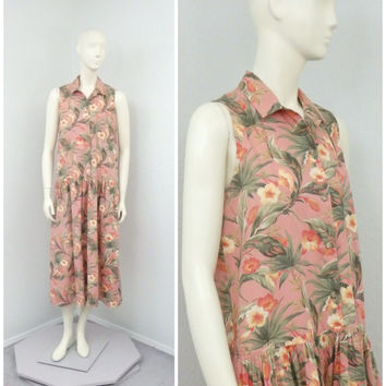 Vintage 90s Dusty Pink Floral Midi Dress, Drop Waist Dress, Shirt Dress, Full Skirt Dress, Sleeveless Summer Dress, Tea Length Dress