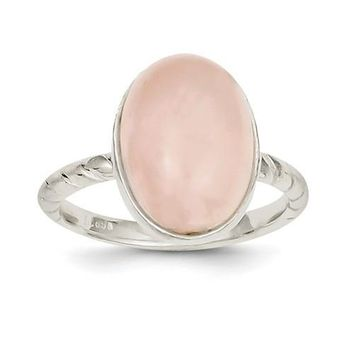 Sterling Silver Rose Quartz Oval Ring