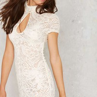 Nasty Gal Into Full Sheer Lace Dress - White