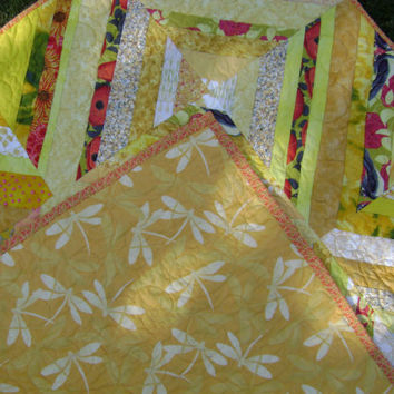 Sunny Yellow String Patchwork Quilt - Small Lap Wallhanging or for Baby Nursery - Handmade Toddler Blanket