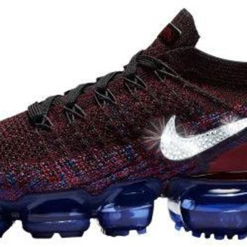 Nike Air VaporMax Flyknit 2 + Crystals - Black/Team Red/Racer Blue