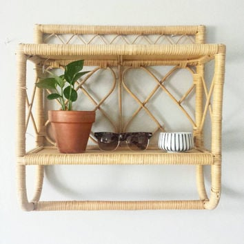 AS IS- Rattan Shelf, Wicker Shelf Bathroom Shelf w/ Towel Bar, Bathroom Shelves Wicker Shelves, Boho Shelf Bathroom Shelving, Bathroom Shelf